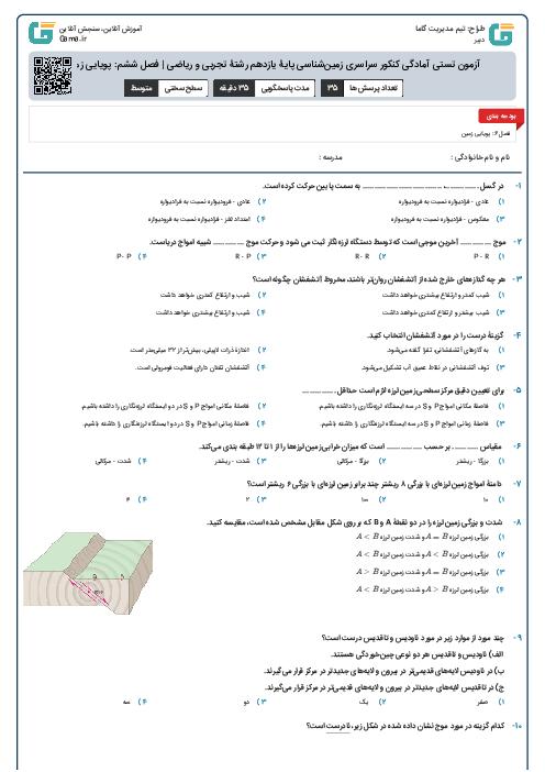 آزمون تستی آمادگی کنکور سراسری زمینشناسی پایۀ یازدهم رشتۀ تجربی و ریاضی | فصل ششم: پویایی زمین