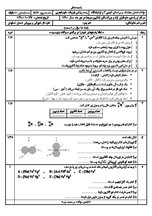 سوالات امتحان هماهنگ شیمی دوم دبیرستان | استان اصفهان دی 1390 سری 2