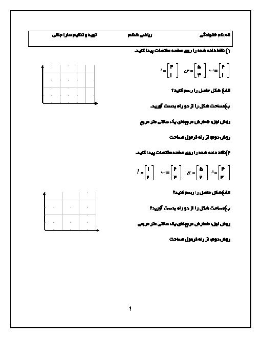 فعالیت و تمرین ریاضی ششم | مختصات