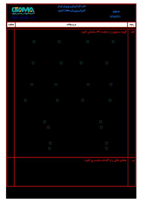 آزمون نوبت دوم هدیه های آسمانی ششم هماهنگ منطقه 2 تهران | خرداد 1398 + جواب