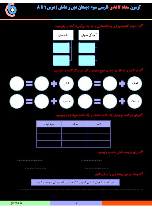 آزمون مداد کاغذی فارسی سوم دبستان دخترانهی دین و دانش   درس 1 تا 8