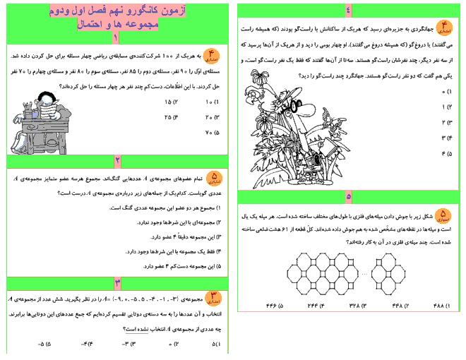 مجموعه آزمون های ریاضیات کانگورو نهم  با پاسخ تشریحی | فصل 1 و 2
