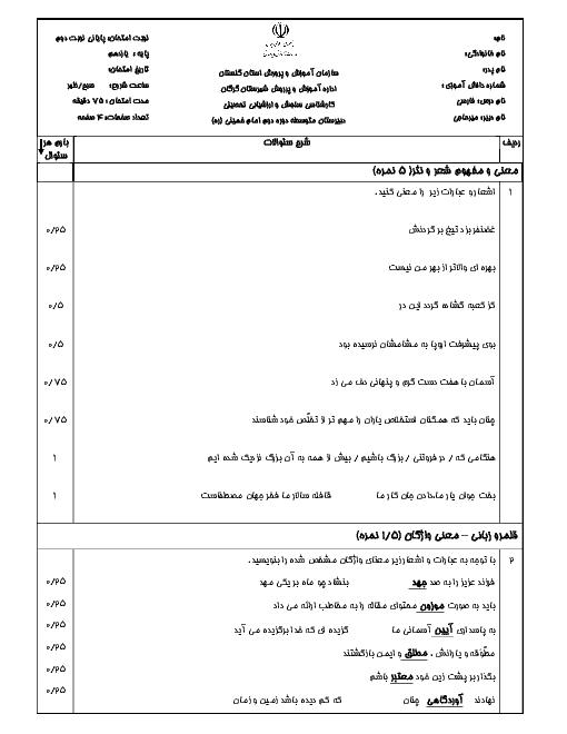 آزمون پیشنهادی نوبت دوم فارسی (2) پایه یازدهم دبیرستان امام خمینی گرگان | خرداد ۹۷ (نمونه 3)