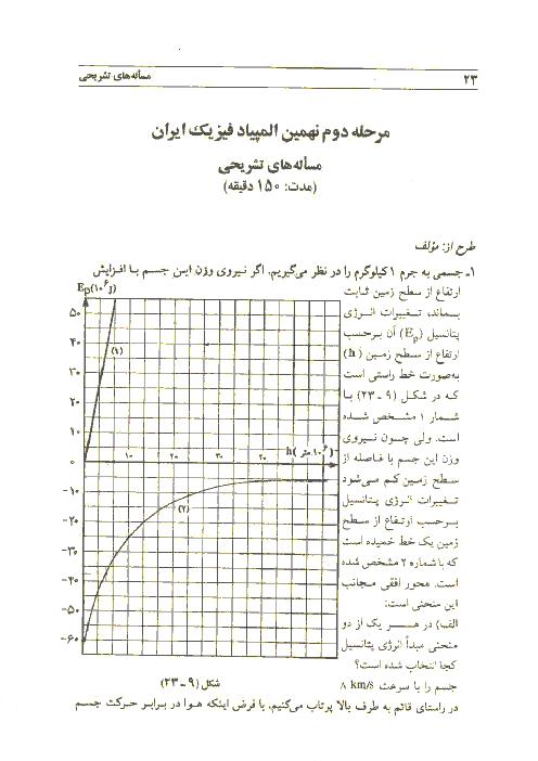 آزمون مرحله دوم نهمین دورهی المپیاد فیزیک کشور با پاسخ تشریحی   اردیبهشت 1375
