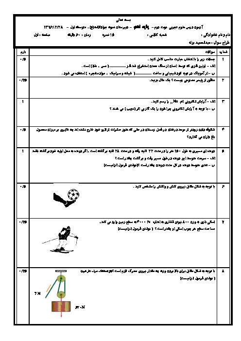 پیش آزمون نوبت دوم علوم تجربی پایه نهم مدرسه جواد الائمه | اردیبهشت1396+پاسخنامه