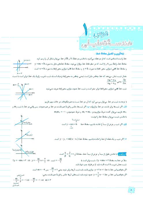 تمرین تکمیلی ریاضی (2) رشته تجربی | فصل اول- درس 1: هندسه تحلیلی
