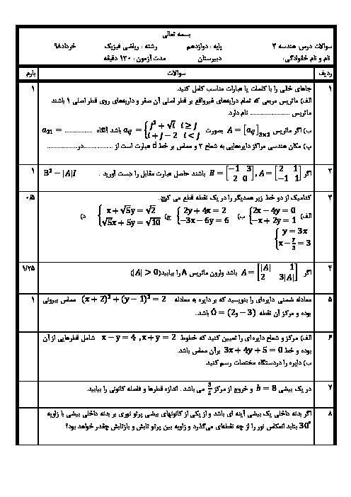 آزمون آمادگی نوبت دوم هندسه (3) دوازدهم دبیرستان سید الشهداء  + پاسخ
