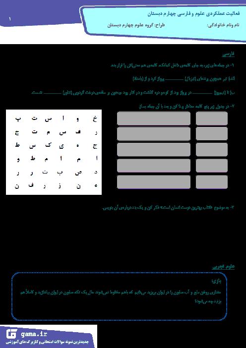 فعالیت عملکردی علوم و فارسی چهارم دبستان در آذرماه 95