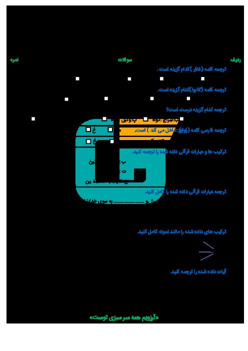 امتحان قـرآن پایه هشتـم دبیرستان دکتر اقبالی - خردادماه 1396