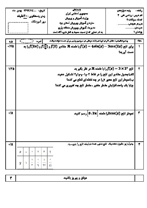 آزمون ریاضی (3) فنی پایه دوازدهم هنرستان شهید مدنی | پودمان 1: کاربرد برخی تابعها در زندگی روزمره