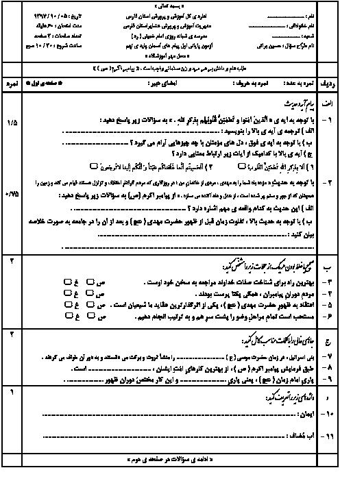 امتحان نوبت اول پیامهای آسمان نهم دبیرستان شبانه روزی امام خمینی   دی 97: درس 1 تا 6