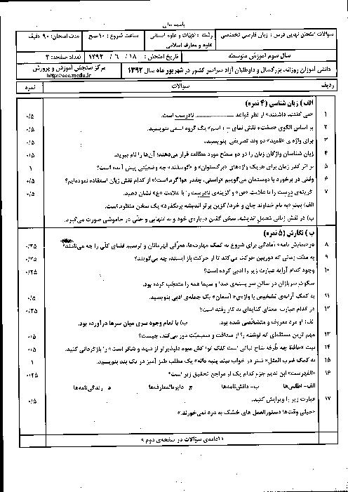 سوالات امتحان نهایی زبان فارسی تخصصی با پاسخنامه | شهریور 1392
