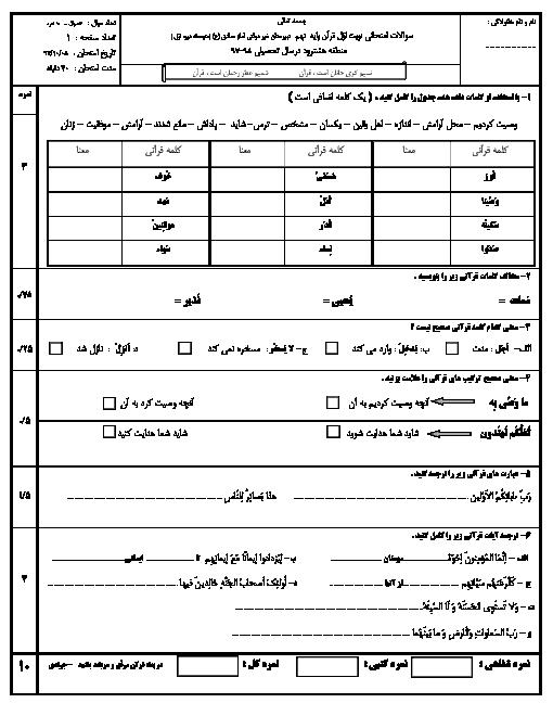 امتحان نیمسال اول قرآن نهم دبیرستان امام صادق هشترود   دی 1397