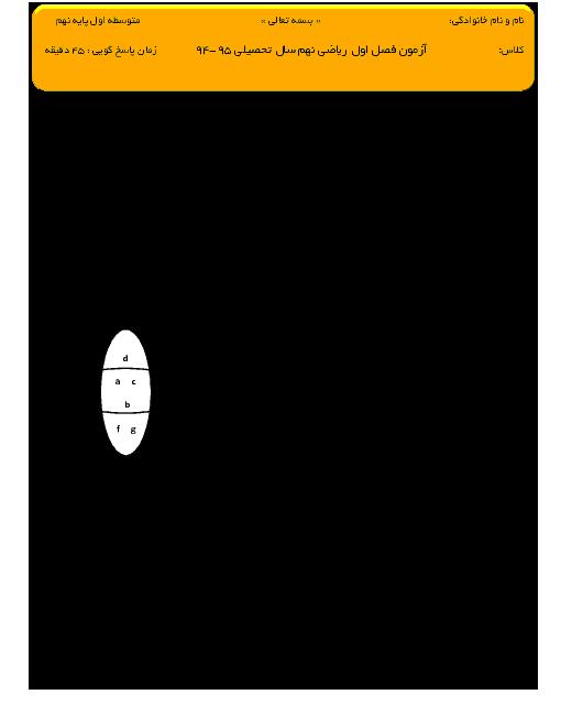 آزمون مستمر ریاضي نهم   فصل اول: مجموعه ها
