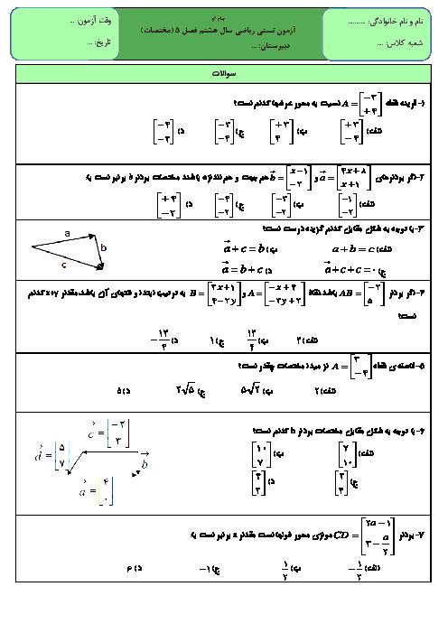آزمون تستی تیزهوشان فصل 5 ریاضی هشتم (بردار و مختصات)