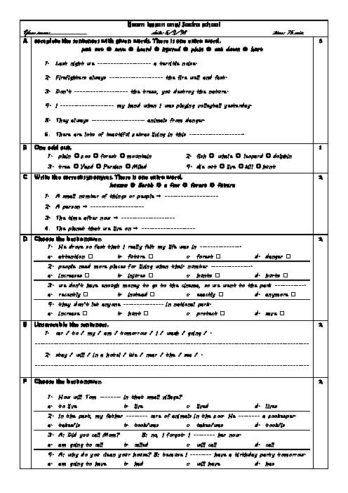 امتحان درس 1 زبان انگلیسی دهم دبیرستان دخترانه صدرا | آذر 1398 + پاسخ