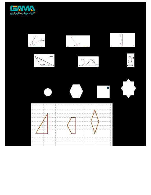 آزمون مدادکاغذی ریاضی پنجم دبستان شهید سالاری  | فصل 4: تقارن و چند ضلعی ها