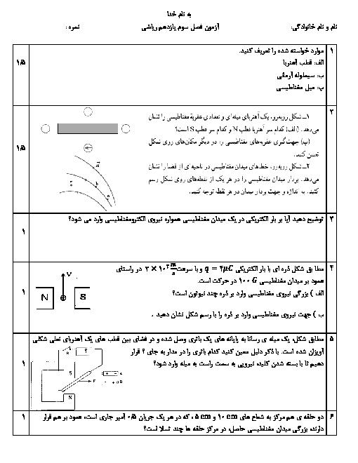 آزمون فصل سوم فیزیک (2) یازدهم دبیرستان رازی | مغناطیس و القای الکترومغناطیسی