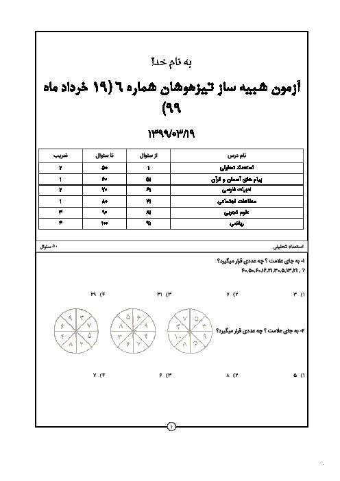 آزمون شبیه ساز تیزهوشان براساس دستورالعمل جدید 99-98 (شماره 4)
