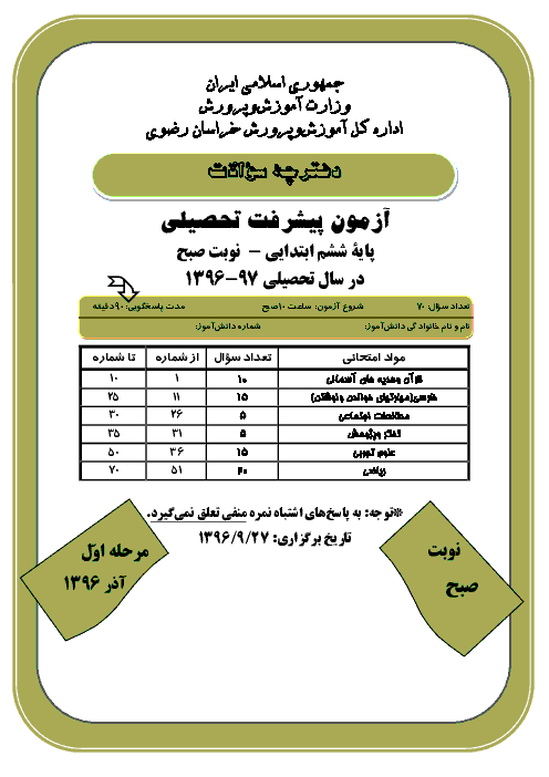 آزمون پیشرفت تحصیلی پایه ششم دبستان استان خراسان رضوی با پاسخ | نوبت صبح مرحله اول 97-96