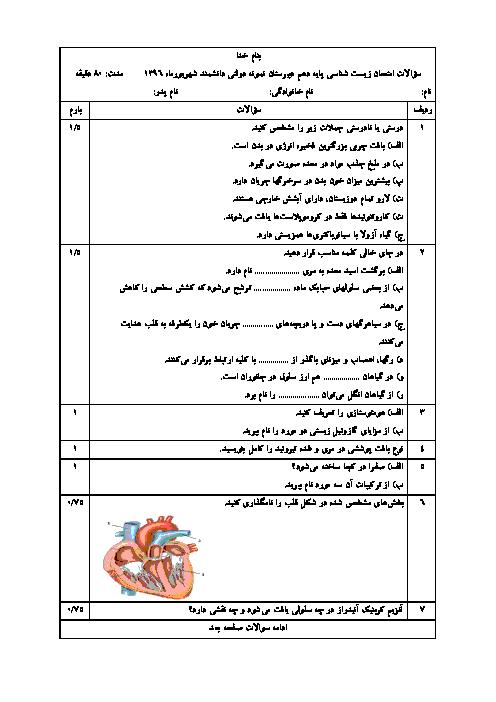 سؤالات امتحان جبرانی زیست شناسی پایه دهم دبیرستان نمونه دولتی دانشمند | شهریور 1396