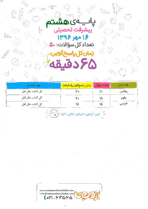 آزمون پیشرفت تحصیلی پایه هشتم خیلی سبز | مهر 96