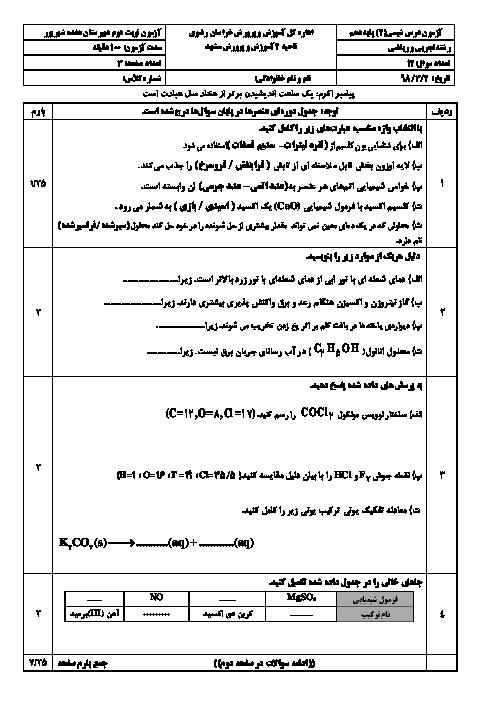 سوالات و پاسخنامه امتحان ترم دوم شیمی دهم دبیرستان 17 شهریور | خرداد 1398