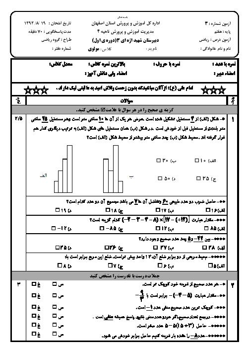 آزمون ریاضی هفتم دبیرستان شهید اژه ای اصفهان | فصل 1 و 2