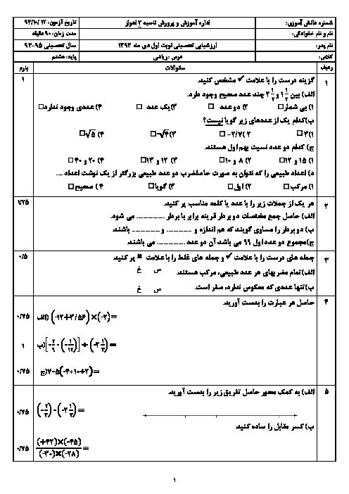 آزمون  ریاضی پایه نهم دیماه 94 نوبت اول | ناحیه 2 اهواز