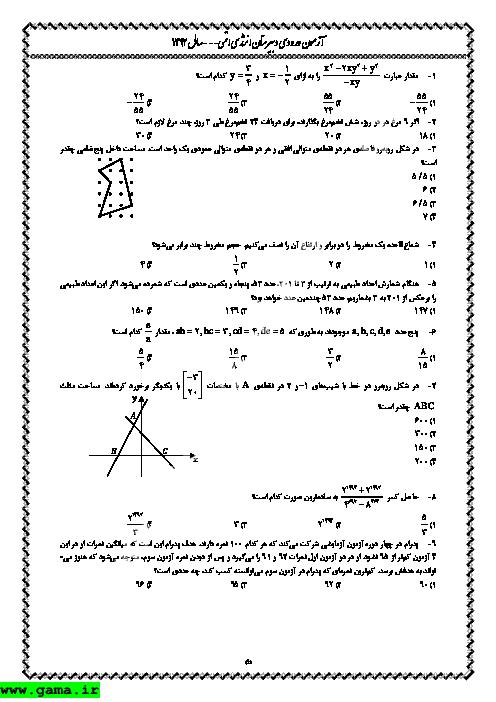 آزمون ورودی دبیرستان انرژی اتمی با کلید - 1392