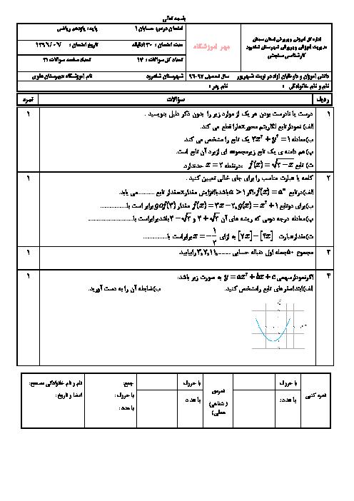 امتحان جبرانی ترم دوم حسابان یازدهم دبیرستان علوی شاهرود | شهریور 1397