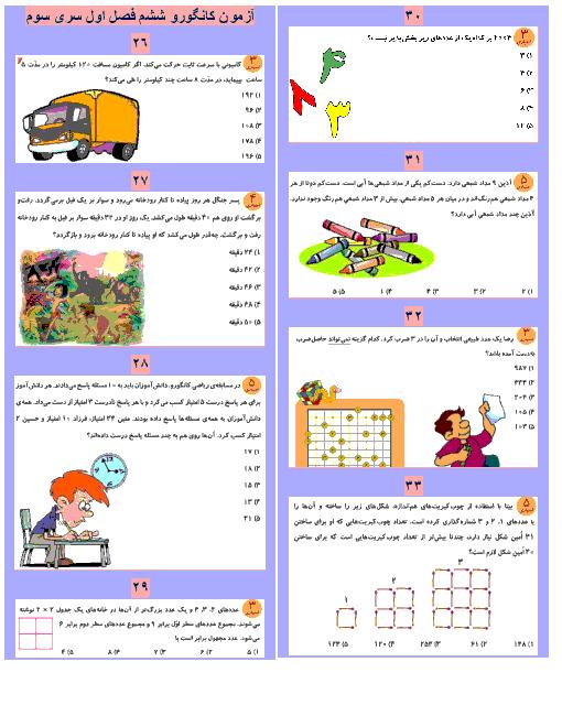 مجموعه ی سوالات کانگورو ریاضی ششم دبستان با پاسخ تشریحی | فصل 1: عدد و الگوهای عددی (22 سوال 5 گزینهای)