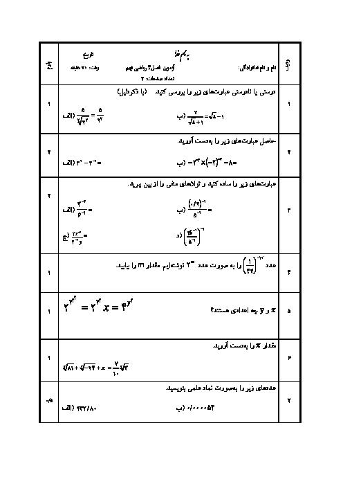 سوالات امتحان ریاضی نهم | فصل 4: توان و ریشه (ویژه مدارس خاص)