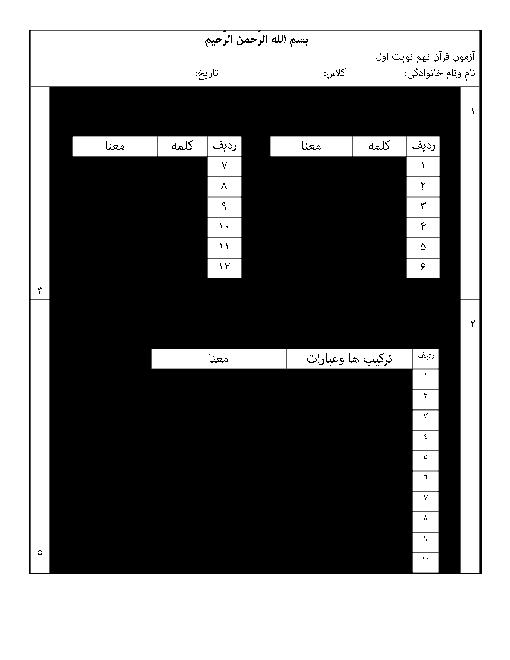 آزمون نوبت اول آموزش قرآن پایه نهم مدرسه شهید باهنر | دی 1396