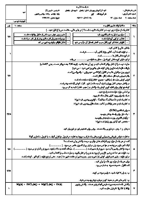سوالات امتحان جبرانی نوبت دوم شیمی (2) پایه یازدهم دبیرستان کوثر    شهریور 1397