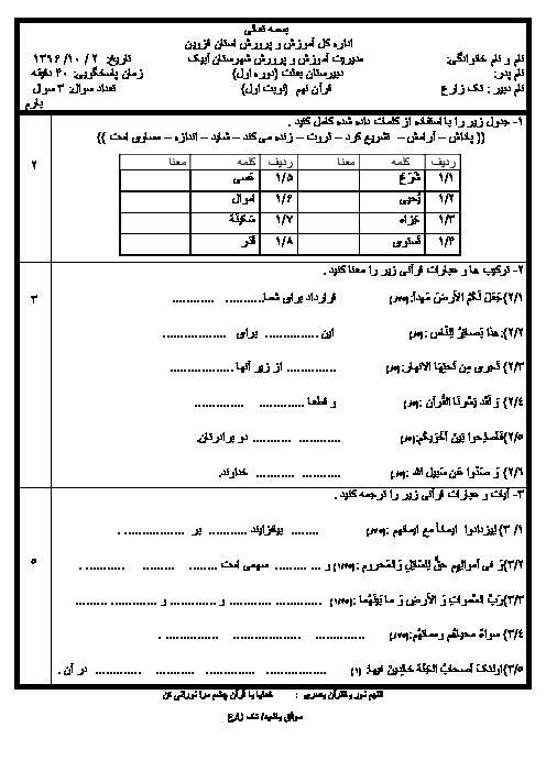 آزمون نوبت اول قرآن نهم مدرسه بعثت | دی 1396