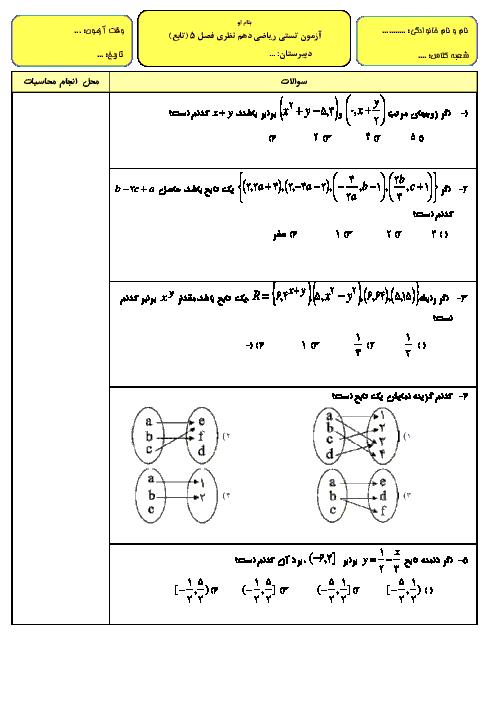 آزمون تستی فصل 5 (تابع) ریاضی (1) دهم با پاسخ تشریحی