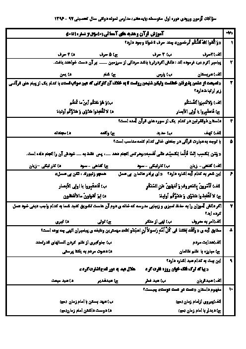 سوالات و پاسخ کلیدی آزمون ورودی پايه هفتم دبيرستان های نمونه دولتی سال تحصيلی 97-96   استان های آذربایجان شرقی + آذربایجان غربی + اردبیل