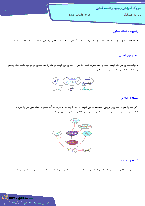 جزوه آموزشی زنجیره و شبکه غذایی