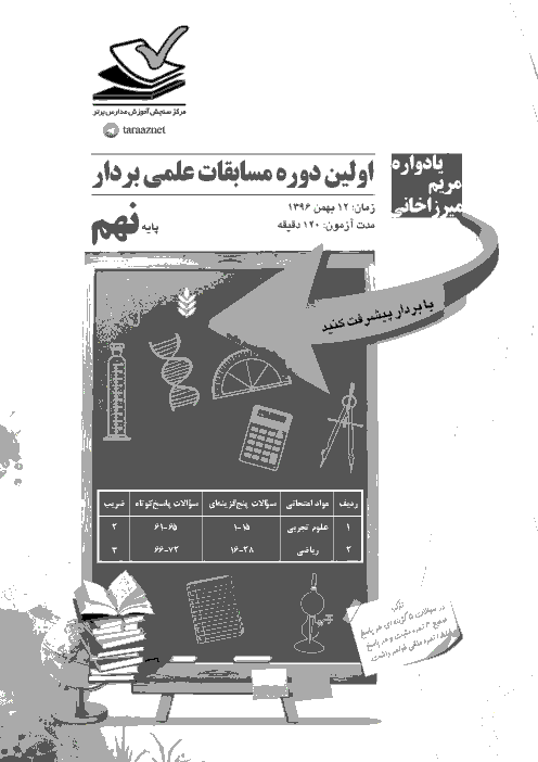 پرسشنامه و پاسخنامه آزمون بردار (ریاضی و علوم) دانش آموزان پایه نهم | 12 بهمن 96