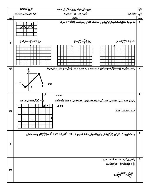 سوالات امتحان میان ترم حسابان دوازدهم دبیرستان شبانه روزی جلال آل احمد | فصل 1 و 2