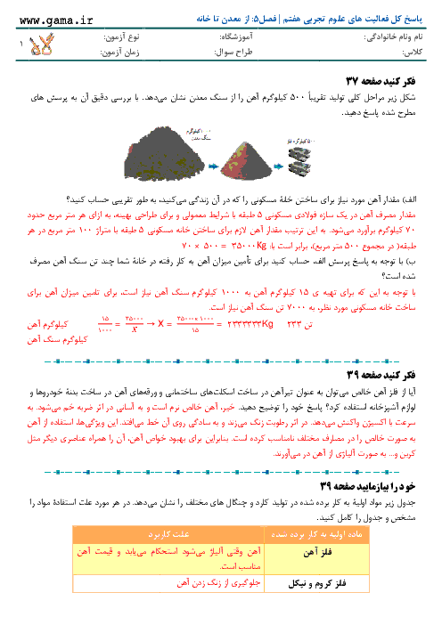 پاسخ کل فعالیت های علوم تجربی هفتم | فصل5: از معدن تا خانه