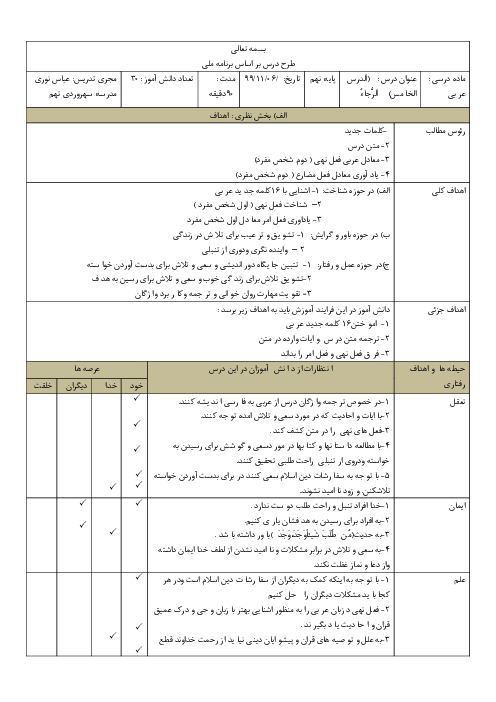 طرح درس روزانه عربی نهم | درس 5: اَلرَّجاءُ