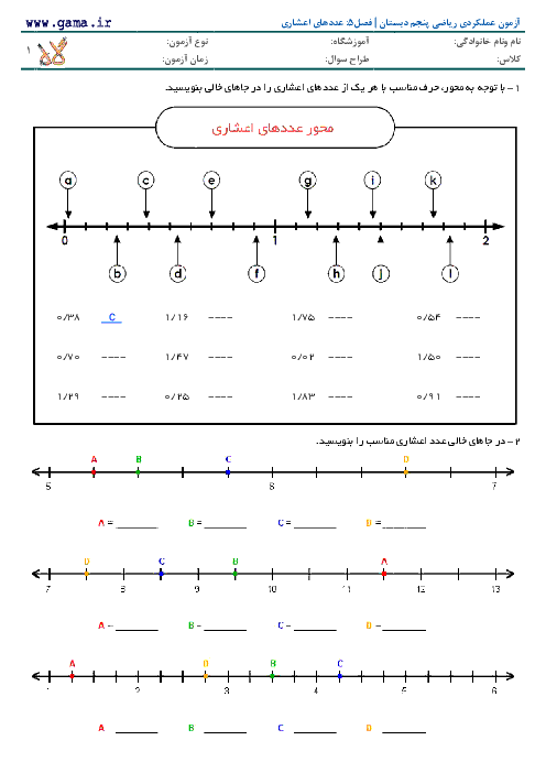 آزمون عملکردی ریاضی پنجم دبستان | نمایش اعداد اعشاری  روی محور