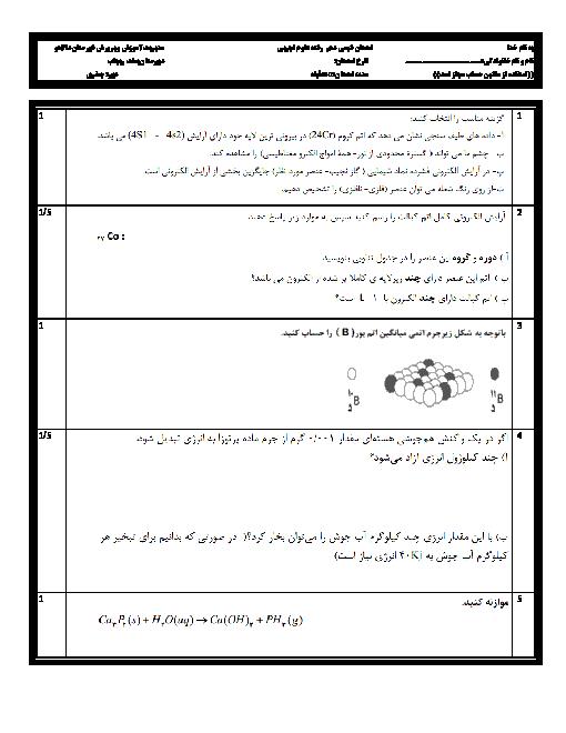 سؤالات امتحان نوبت دوم شیمی (1) پایۀ دهم دبیرستان بعثت ریجاب شهرستان دالاهو | خرداد 96