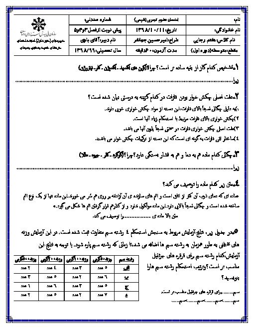 امتحان شیمی و زمین شناسی هفتم مدرسه استعداد های درخشان شهید بهشتی بهبهان | فصل های 3 و 4 و 5