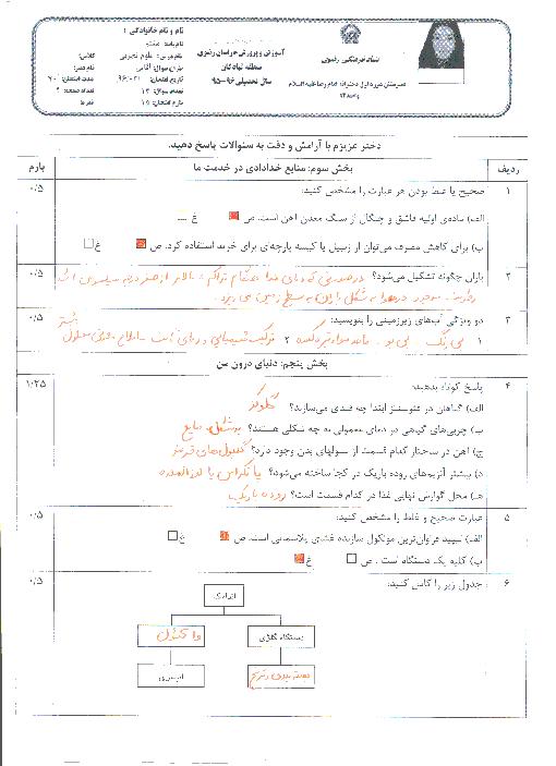 آزمون نوبت دوم علوم تجربی پایه هفتم مدرسه امام رضا (ع) + جواب   خرداد 96