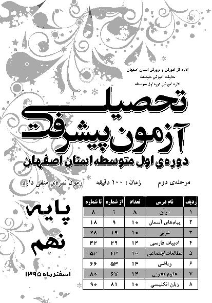 سوالات و پاسخ کلیدی آزمون پیشرفت تحصیلی پایه نهم استان اصفهان | مرحله دوم اسفند 95