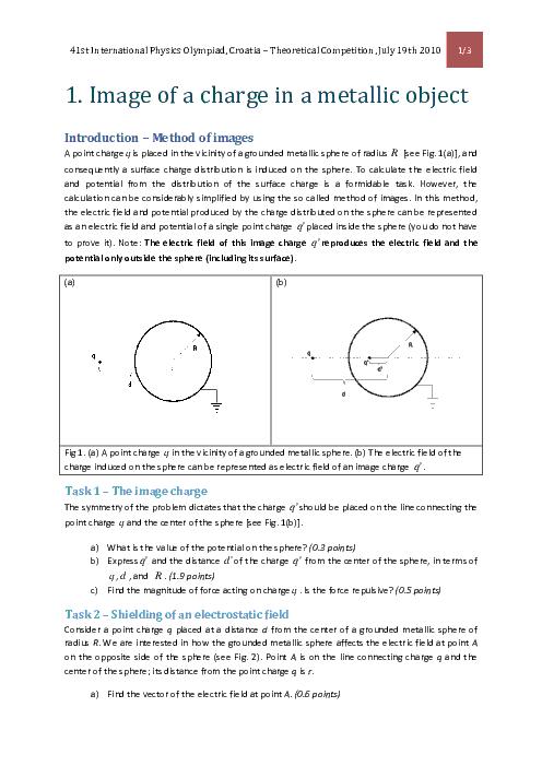 سؤالات چهل و یکمین دوره المپیاد جهانی فیزیک با پاسخ تشریحی | سال 2010 (کرواسی)