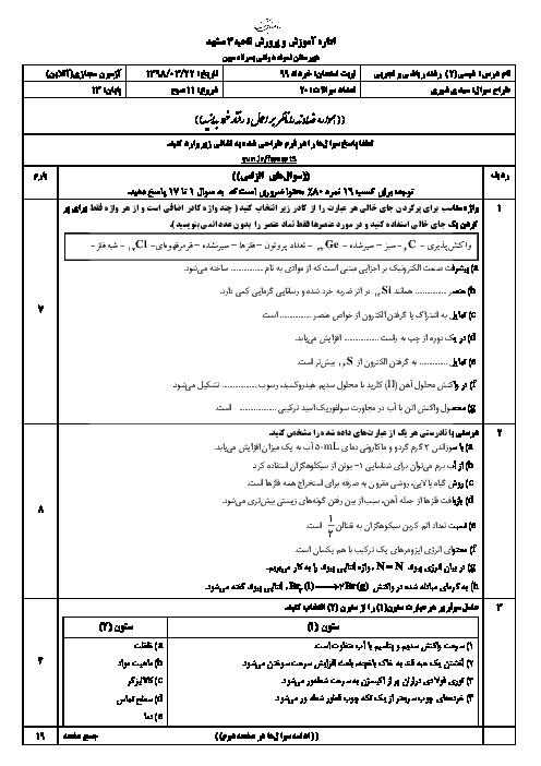 آزمون نوبت دوم شیمی (2) یازدهم دبیرستان نمونه دولتی مبین   خرداد 1399